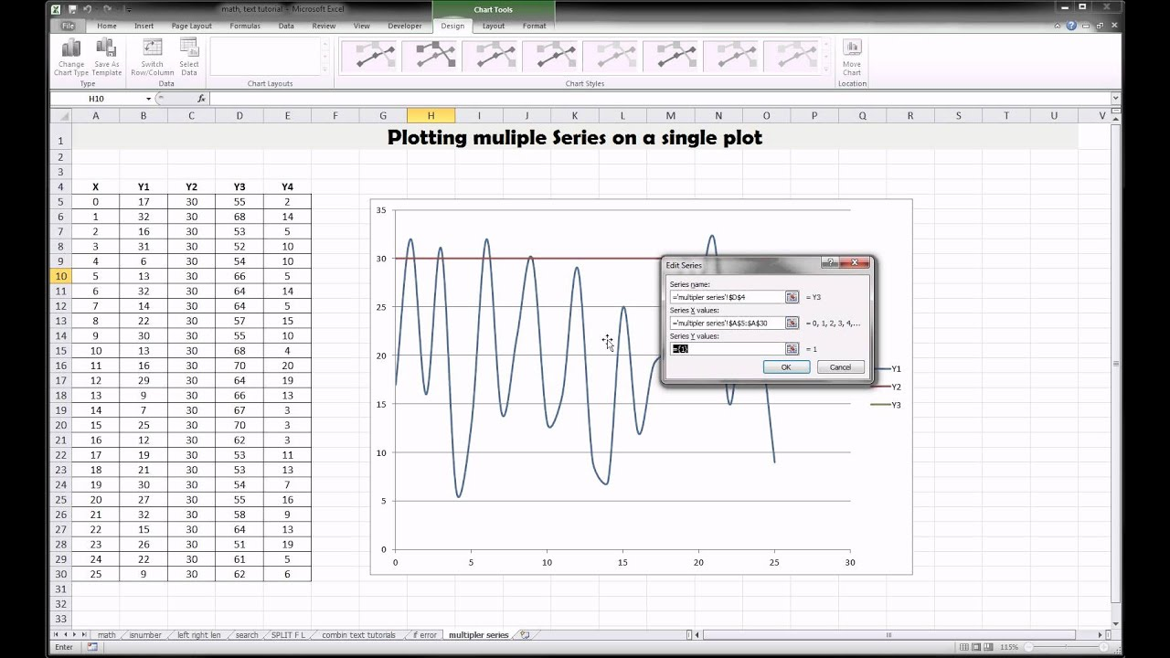 Excel plotting multiple lines on one plot youtube excel plotting multiple lines on one plot ccuart Images