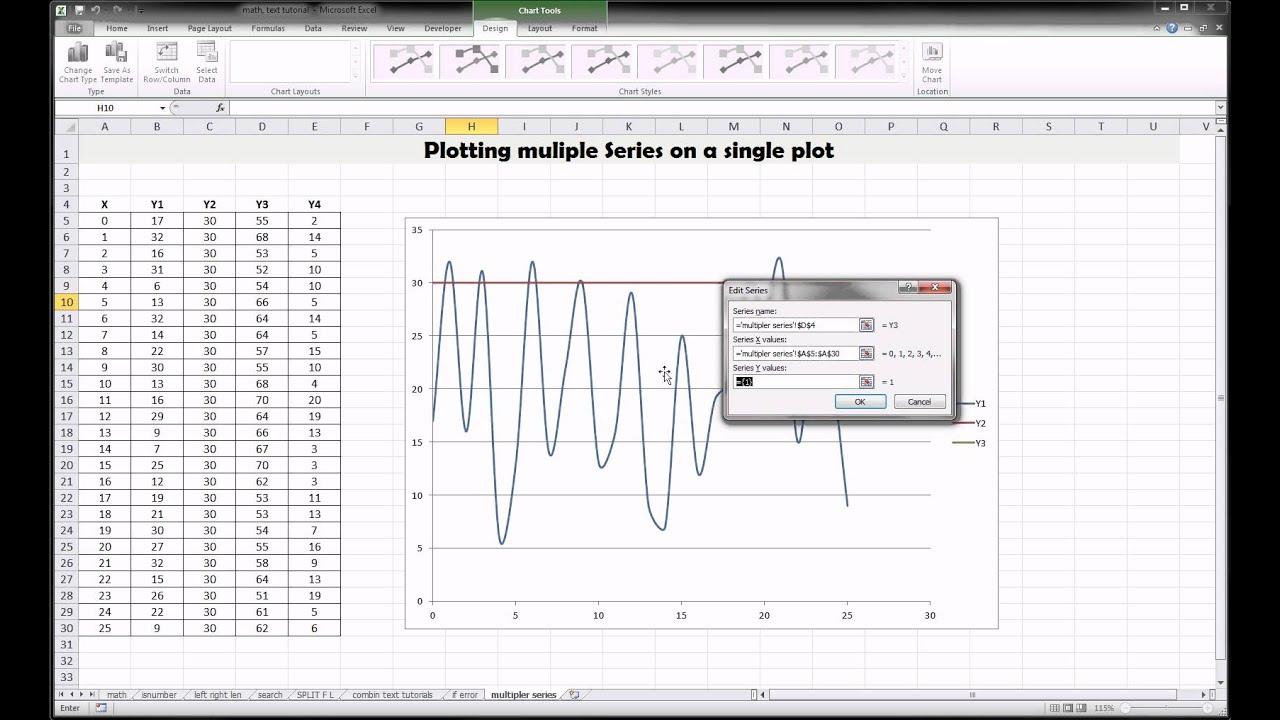 Excel plotting multiple lines on one plot also youtube rh
