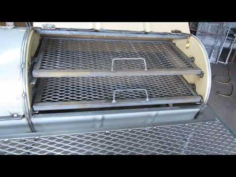 55 gallon double barrel grill construction