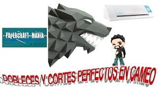 Cortes y Dobleces perfectos con cameo --PAPERCRAFT-- lobo stark direwolf
