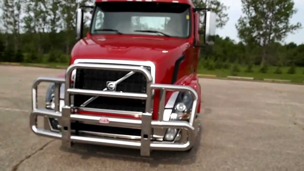 Semi Deer Guards : Volvo vn big front grill guard youtube