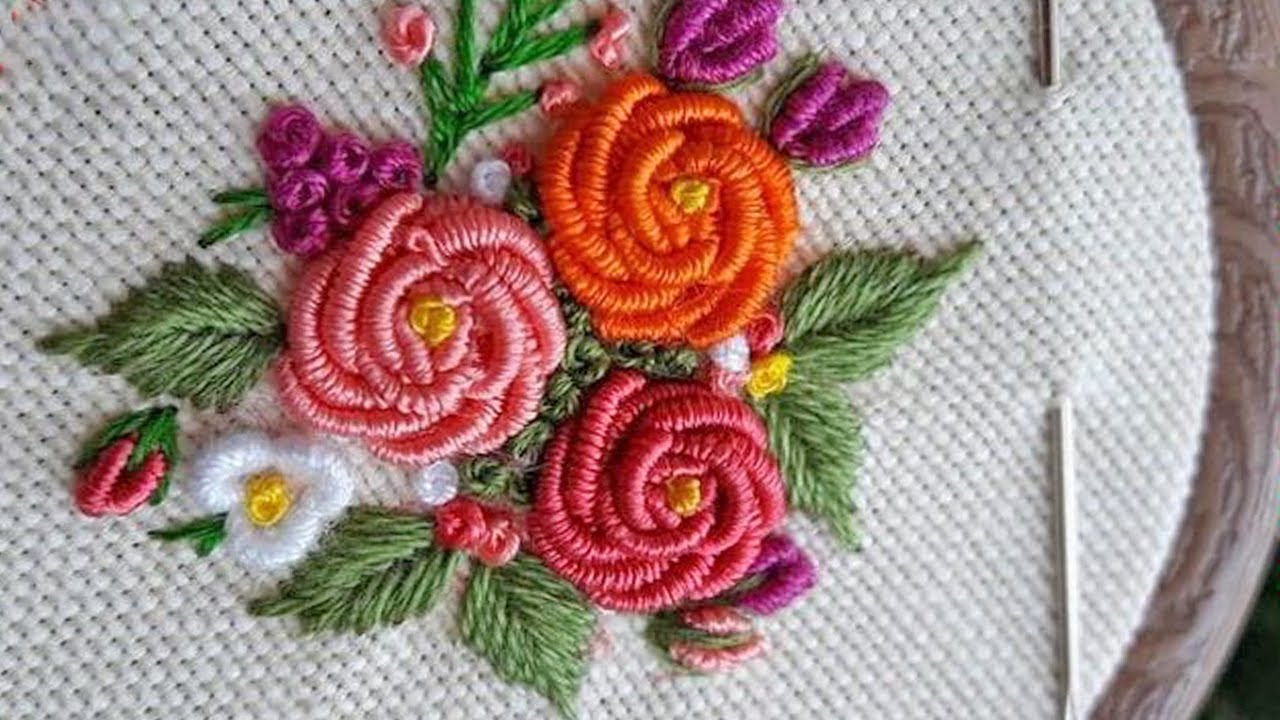 Hand Embroidery, Easy Flower Embroidery   Hand embroidery designs   Flower  Ideas with Tricks