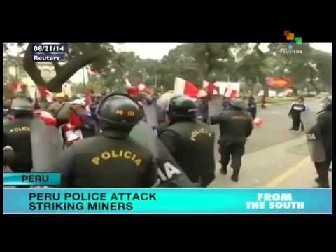 Peruvian police attack striking miners