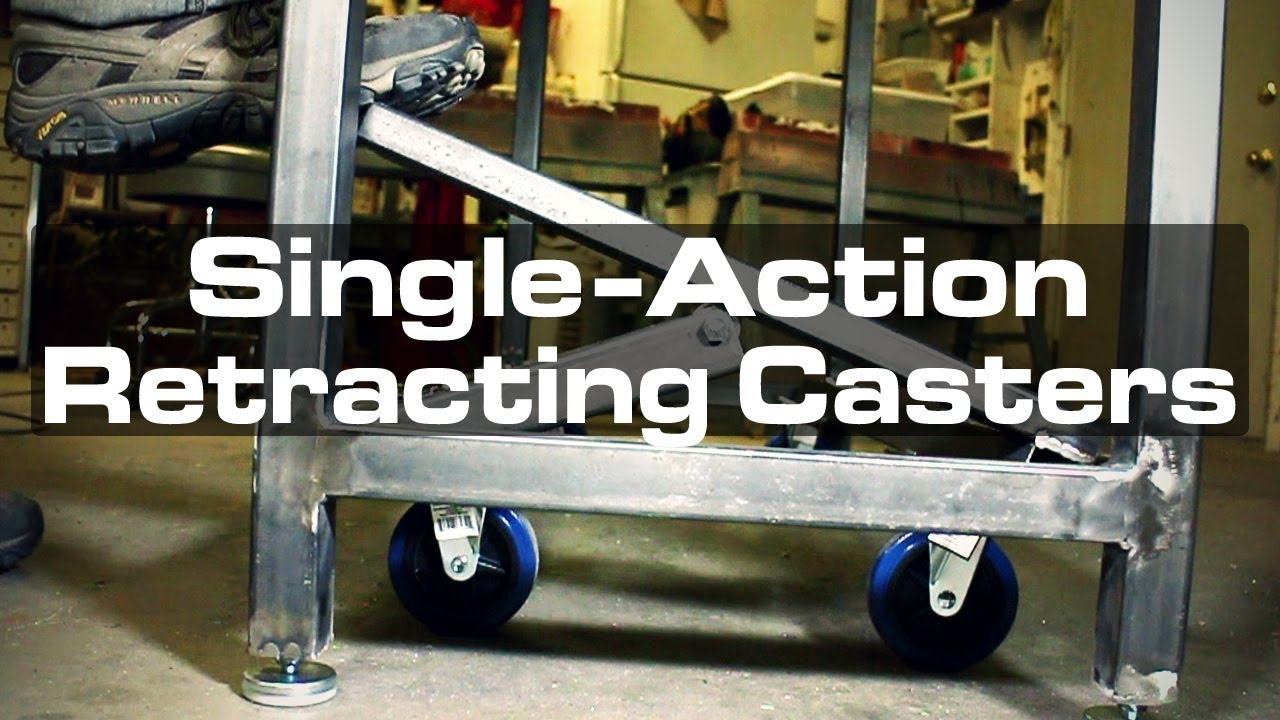 Single Action Retracting Casters For A Mobile Welding