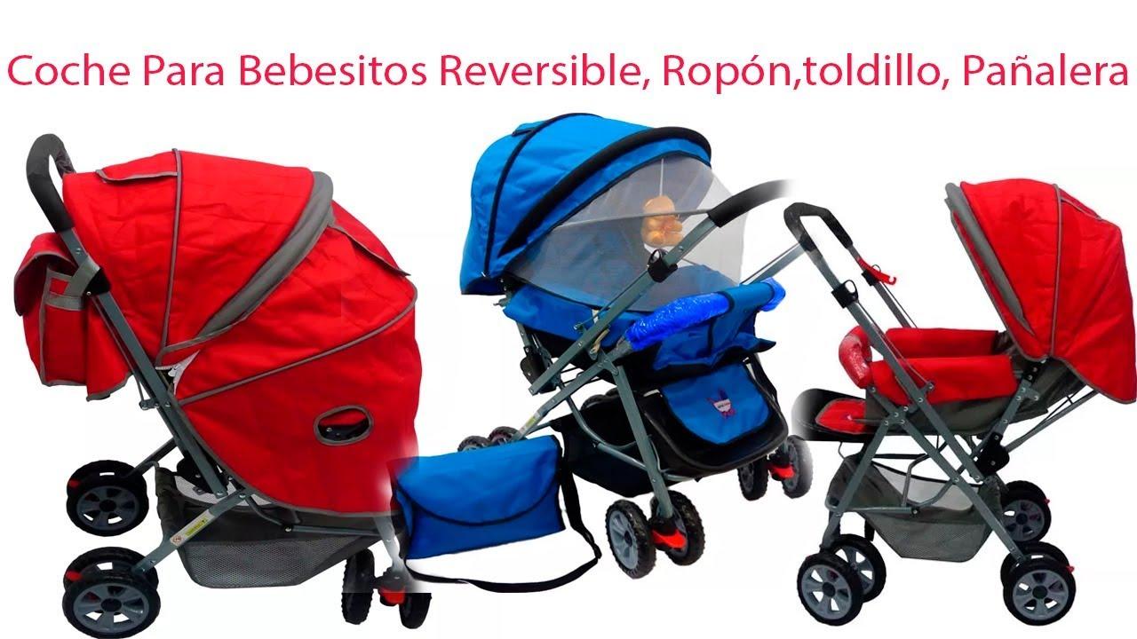 b274550fa Coche Para Bebesitos Reversible, Ropón,toldillo, Pañalera - YouTube