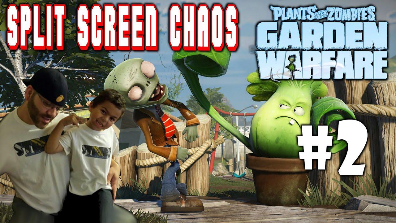 Plants Vs Zombies Garden Warfare Split Screen Chaos 2 Ps4 Street N Son Vs Zombie Scum