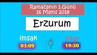 Doğu Anadolu Bölgesi İL İL İMSAK ve İFTAR Vakitleri (1.Gün - 16 Mayıs 2018)