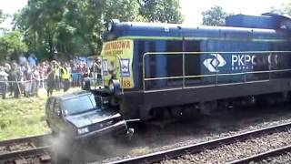 Kolizja pociągu z samochodem - symulacja Opole