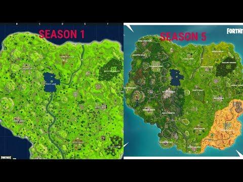 Evolution Of The Fortnite Map (Season 1 To Season 5)