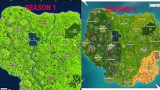 Evolution Of The Fortnite Map (Season 1 To Season 5)
