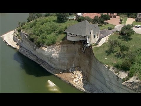 Texas house falling off cliff