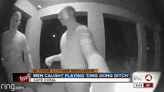 Men caught on camera playing 'Ding Dong Ditch'