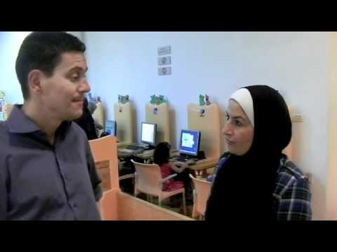 David Miliband visits the Qattan Centre for the Child in Gaza City