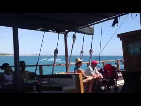 Pirate Pat steals Captain Jacks treasure onboard the Jolly Roger Pirate ship Paphos Cyprus