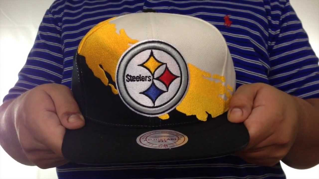 e485577ec Steelers 'PAINTBRUSH SNAPBACK' White-Gold-Black Hat by Mitchell & Ness