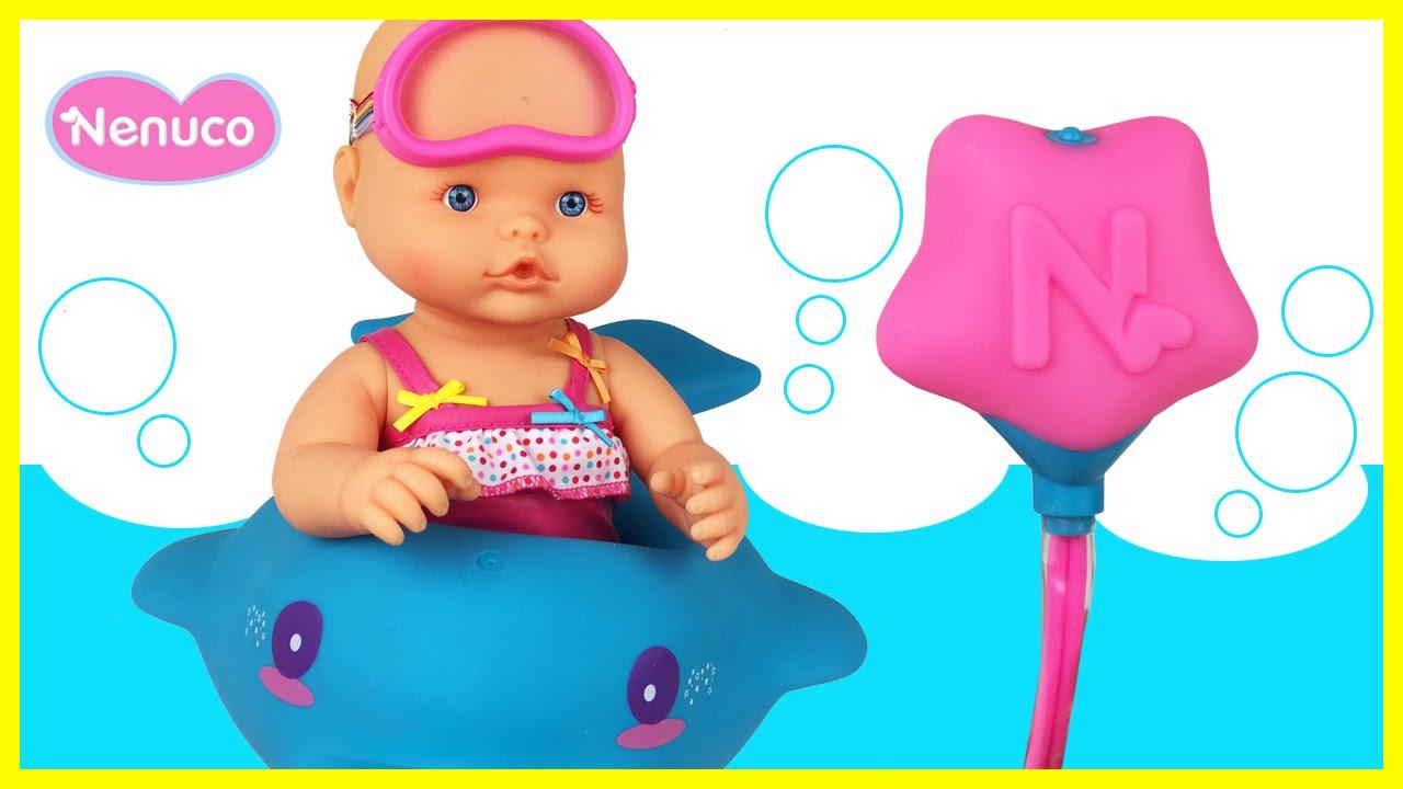 8026f7daa Nenuco Baño de Burbujas con Flotador Delfín ❤ Nenuco Bubble Bath Doll Nenuco  Baby Doll Bathtime