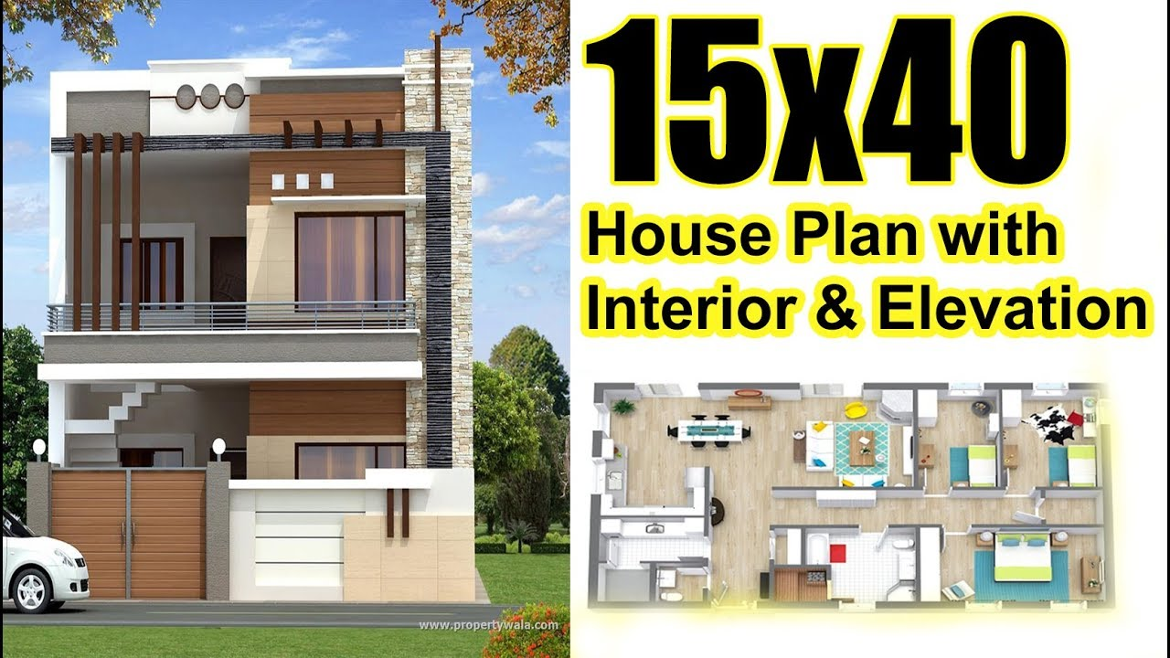 15x40 House Plan With Interior & Elevation