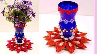 DIY - How To Make Flower Vase With plastic bottle - Plastic Bottle Reuse Idea for Home Decor - Craft