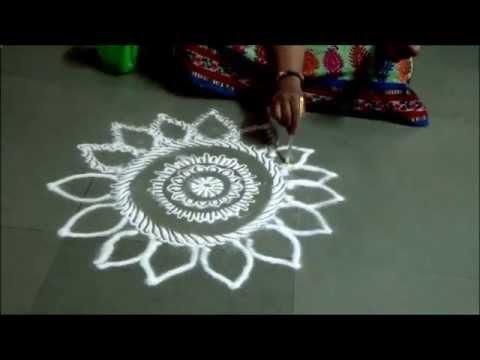 Easy Rangoli by Kshama How to draw free hand rangoli Small Rangoli