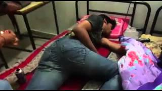 Funny style wake up in Hostel