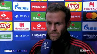 """We reacted too late."" Juan Mata gives his take on Champions League loss to Valencia"