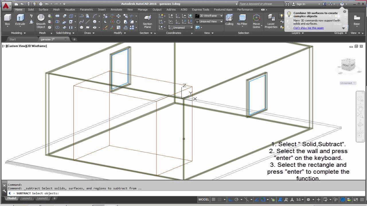 how to cut a 3d object in autocad