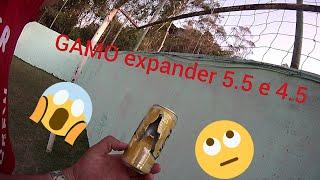 Chumbinho GAMO expander 5.5 eo 4.5 olha o estrago na latinha impressionante tiro a 35 metros