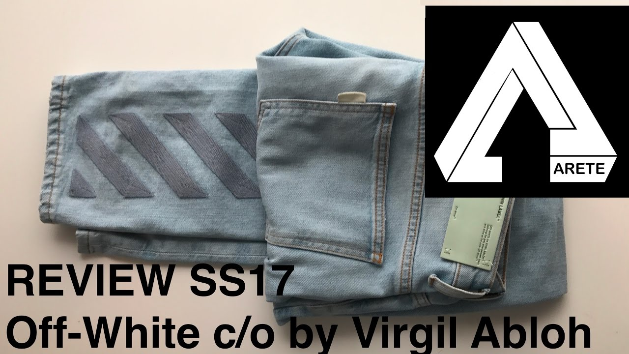 cbb6da8ca85d Off-white c o Virgil Abloh men s light blue jeans Review - SS17 DIAG SKINNY  5 POCKETS