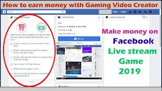 របៀបរកលុយតាមFacebook Live Stream​ Gaming Video Creator