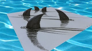 EASY 3D SHARKS - How to Draw Shark Illusion - With Charcoal & Markers