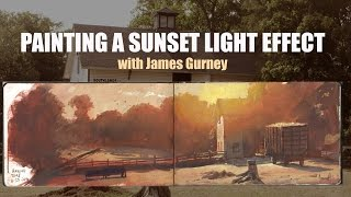 Painting a Sunset Light Effect in Gouache (with Captions and Translations)