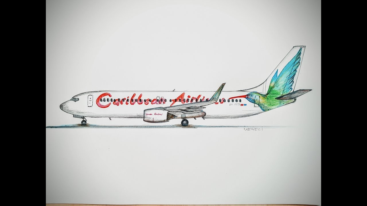 Speed Drawing Caribbean Airlines Boeing 737 Youtube - Www