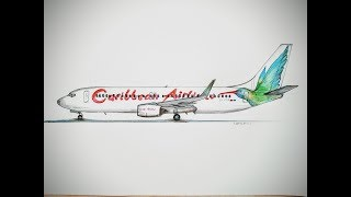 SPEED DRAWING,CARIBBEAN AIRLINES, BOEING 737