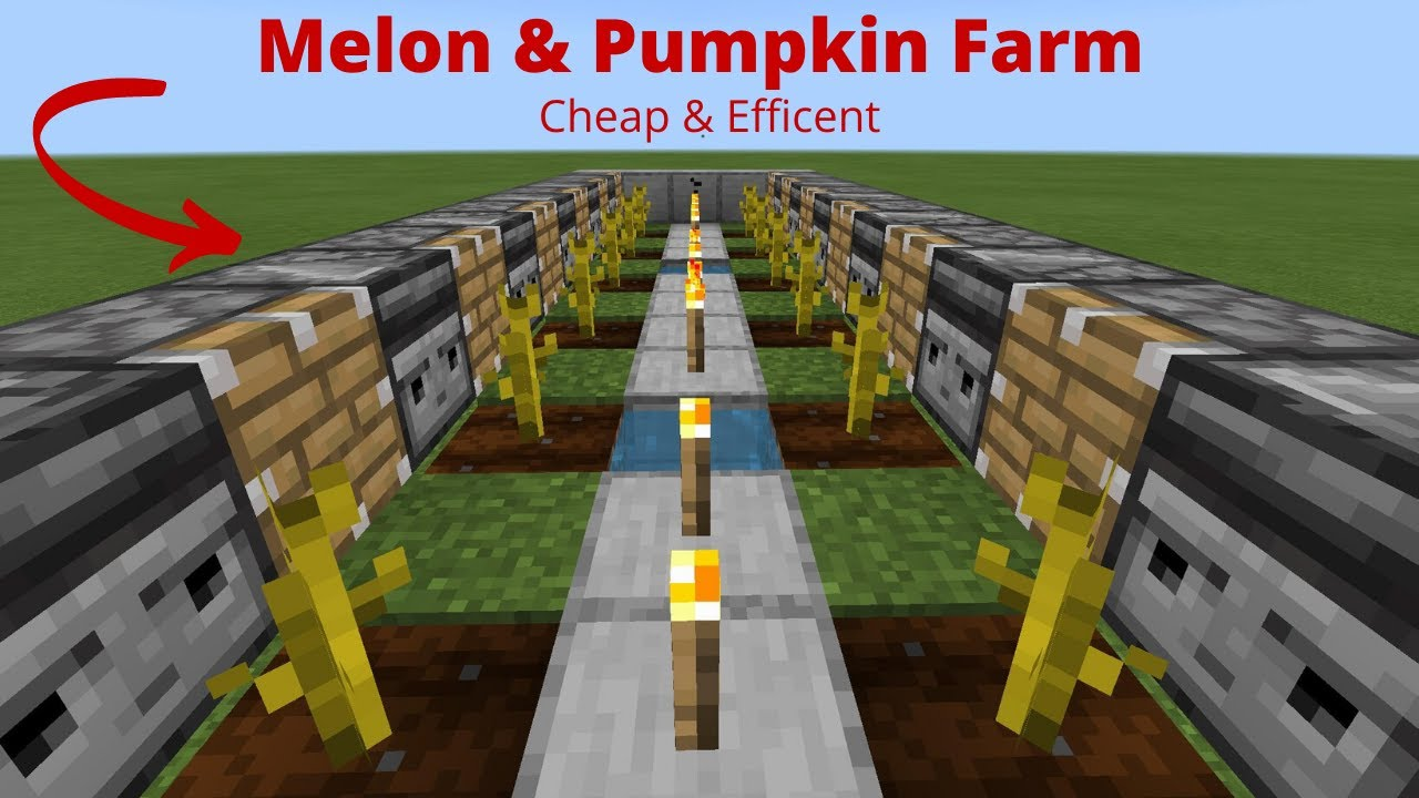 Minecraft Bedrock: Pumpkin & Melon Farm Tutorial!