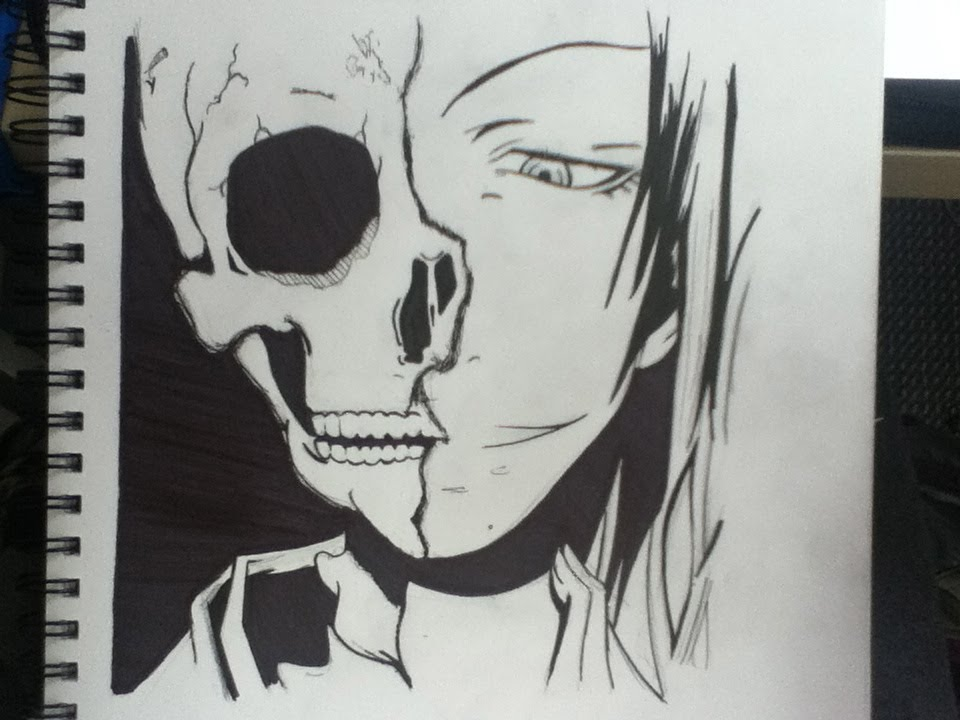 Drawing Half-Human Half-Skull - YouTube