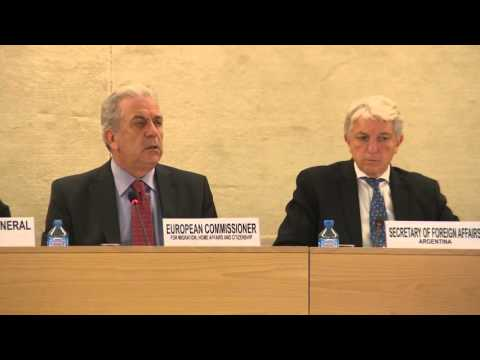 European Commissioner for Migration, Home Affairs and Citizenship, Dimitris Avramopoulos, in Geneva