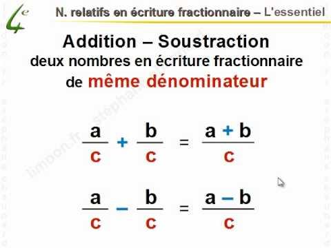 Maths 4 me nombres relatifs en criture fractionnaire math matiques quatri me youtube - Calcul nombre de parpaing ...
