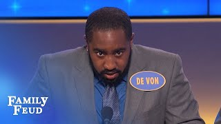 LISTEN TO THIS! De Von sounds like one ANGRY ROOSTER! | Family Feud