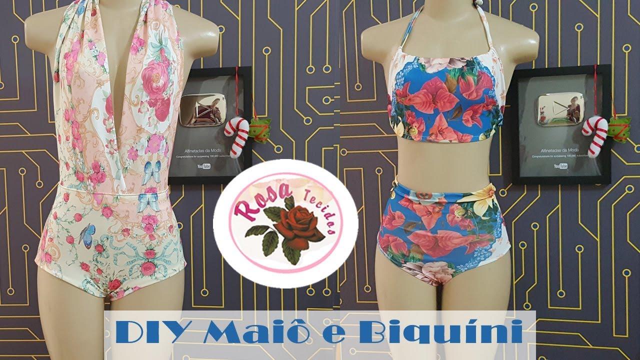 6ee823422 DIY   Moda Praia - Biquíni e Maiô ou Body + Molde - Curso de Corte e  Costura - Passo a Passo