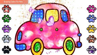 How To Draw A Car | Pink Car drawing For Kid | Drawing Colors For Kids