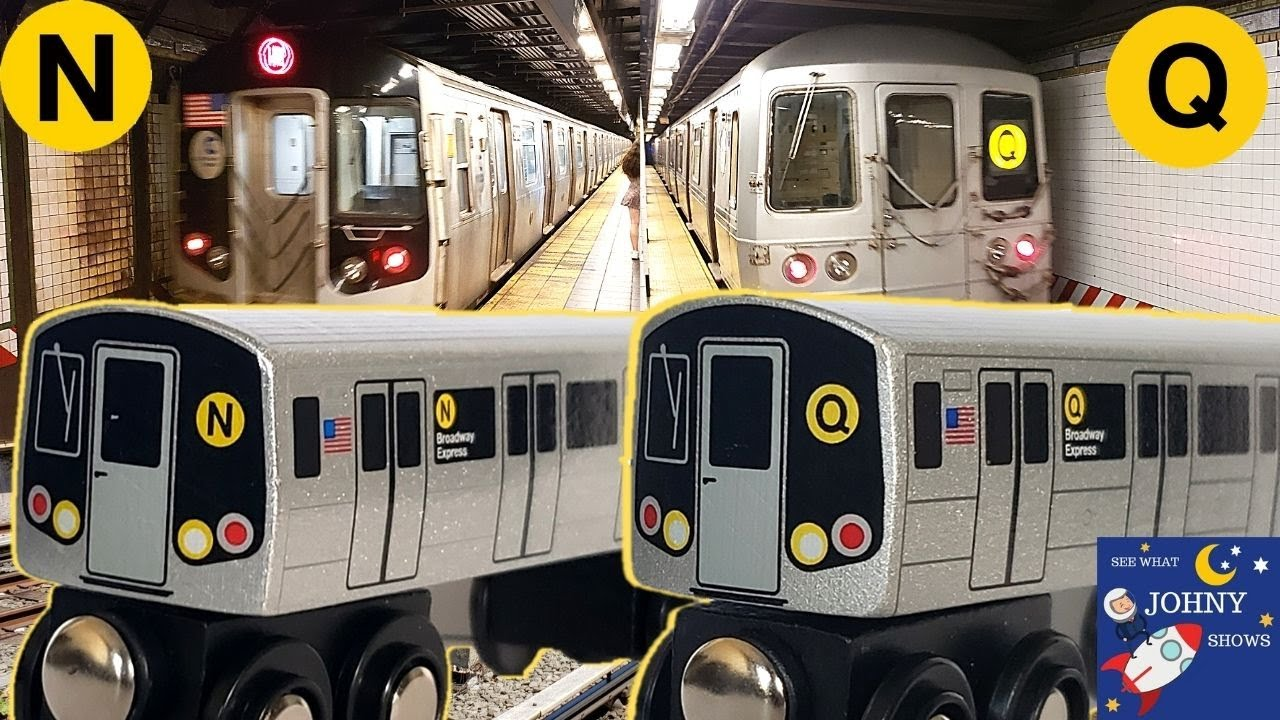 Johny Unboxes MTA Munipals N & Q Subway Trains & Goes On A Subway Train Ride To Times Square