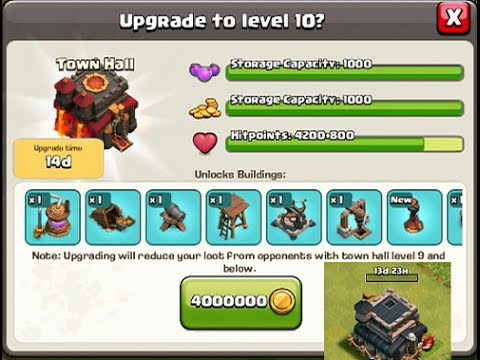 Clash of clans town hall upgrade to level 10 and attack youtube