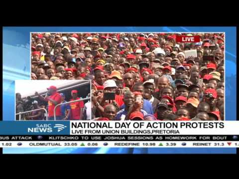 Julius Malema addresses marchers gathered at Union Buildings