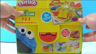 Unboxing Play Doh Chef Cookie Monster Eats Pizza Lunch Box 123 Mold 'n Go