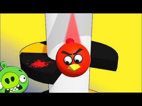 HELIX JUMP with ANGRY BIRDS ♫  3D animated game mashup  ☺ FunVideoTV - Style ;-))