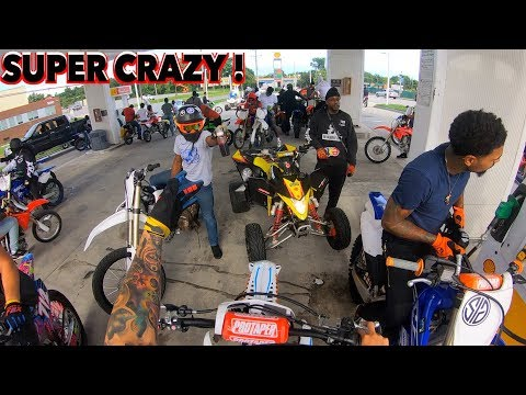 DIRT BIKES AND QUADS TAKE OVER BALTIMORE GAS STATION !