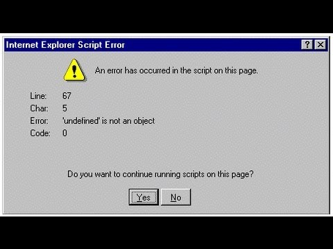 How To Stop Internet Explorer Script Error Messages