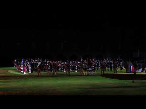 The combined bands at 2017 Highland Military Tattoo