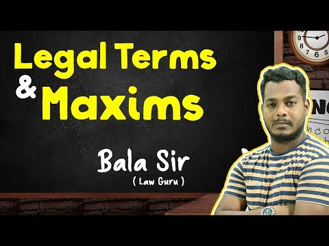 Legal Terms and Maxims Live Class | Bala Sir | FoolsDen