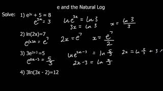 The Exponential Function e and The Natural Log ln